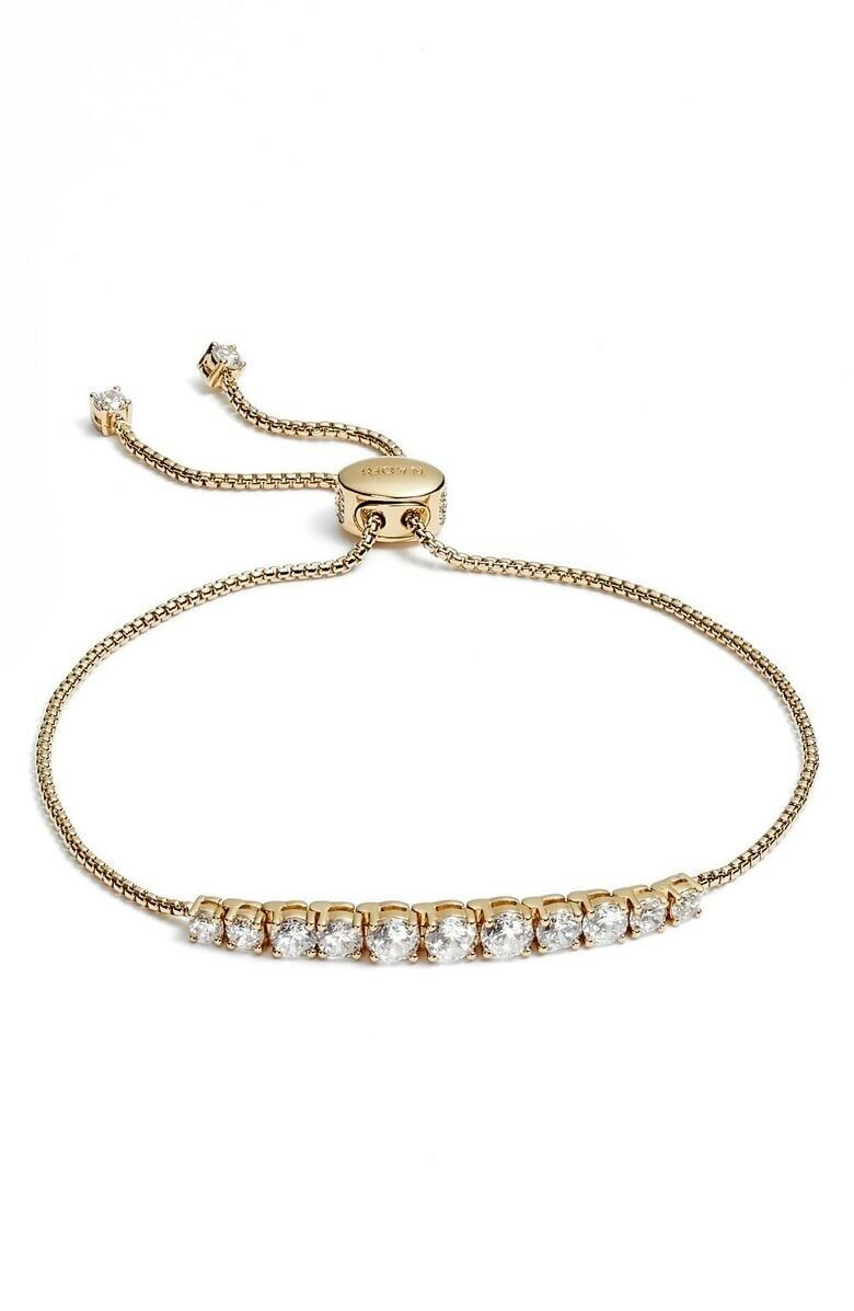 NEW Nadri gold Finish Crystal Slide Bracelet Retail Value  78