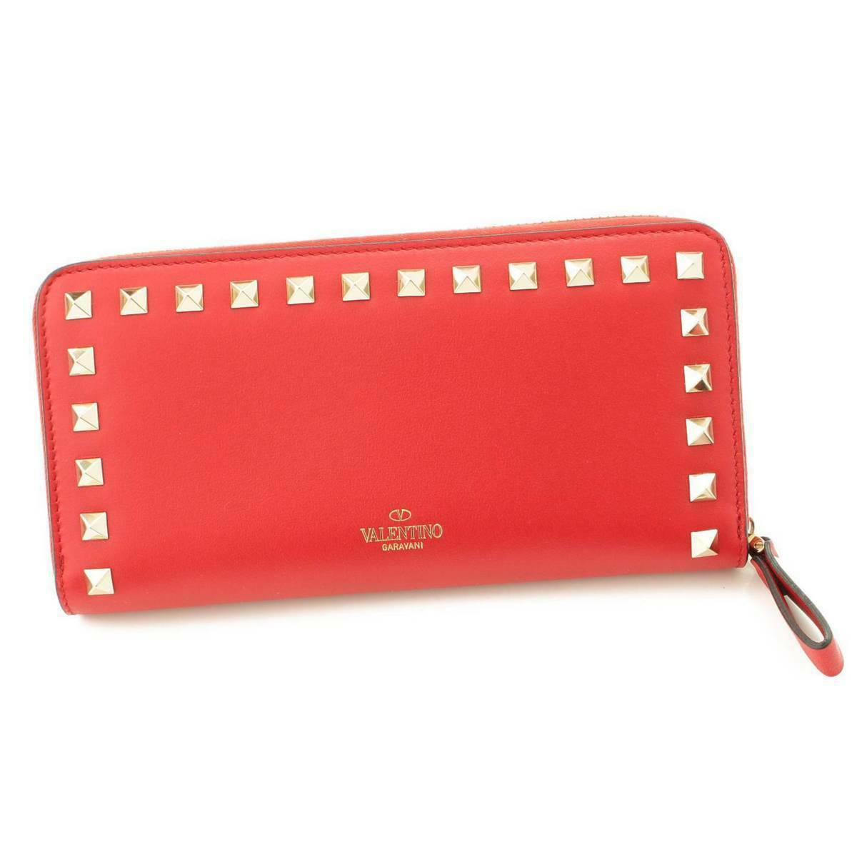 Authentic Valentino Rockstud Round Zipper Wallet QW2P0645BOL Red Never Used