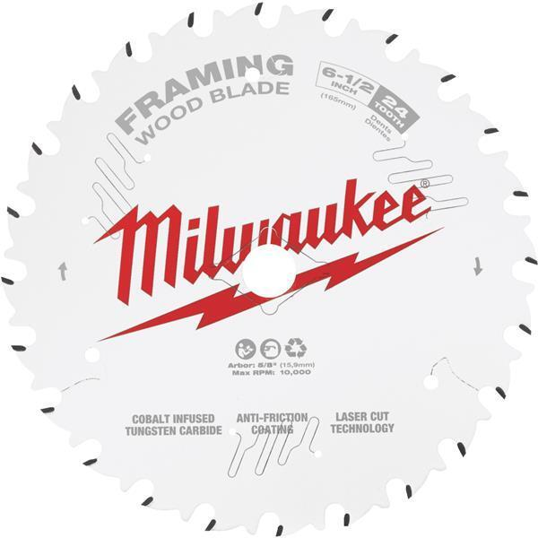 5 Pk Milwaukee 6-1 2  L. High-Performance 24-Tooth Framing Circular Saw Blade