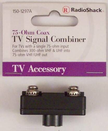 Signal Combiner 300-Ohm VHF /& UHF Screw Terminals to 75-Ohm Male F Connector