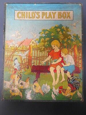 Milton Bradley CHILD'S PLAY BOX Games Drawing etc. Antique Rare