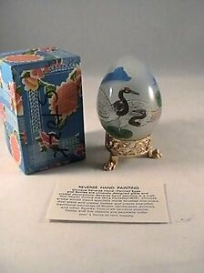 Other Asian Antiques Antiques Imported From Abroad Decorative Chinese Reverse Handpainted Glass Egg-storks Design High Quality Materials
