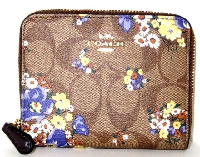Coach Small Signature Zip Around Wallet Brown Multi Medley Bouquet F31955 NWT