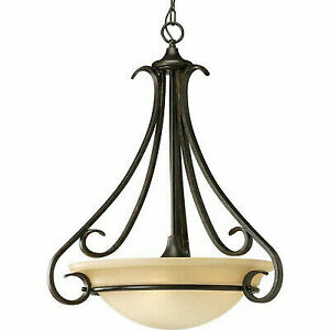 Progress Lighting P3847 77 Torino Forged Bronze Three Light Pendant 94384777
