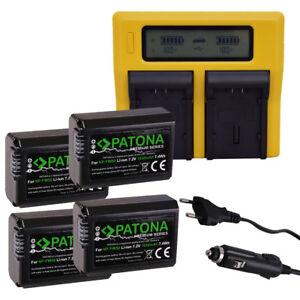 Ladegeraet-DUAL-LCD-4x-Akku-Premium-Sony-NP-FW50-Alpha-5000-6000-NEX-6-F3-7