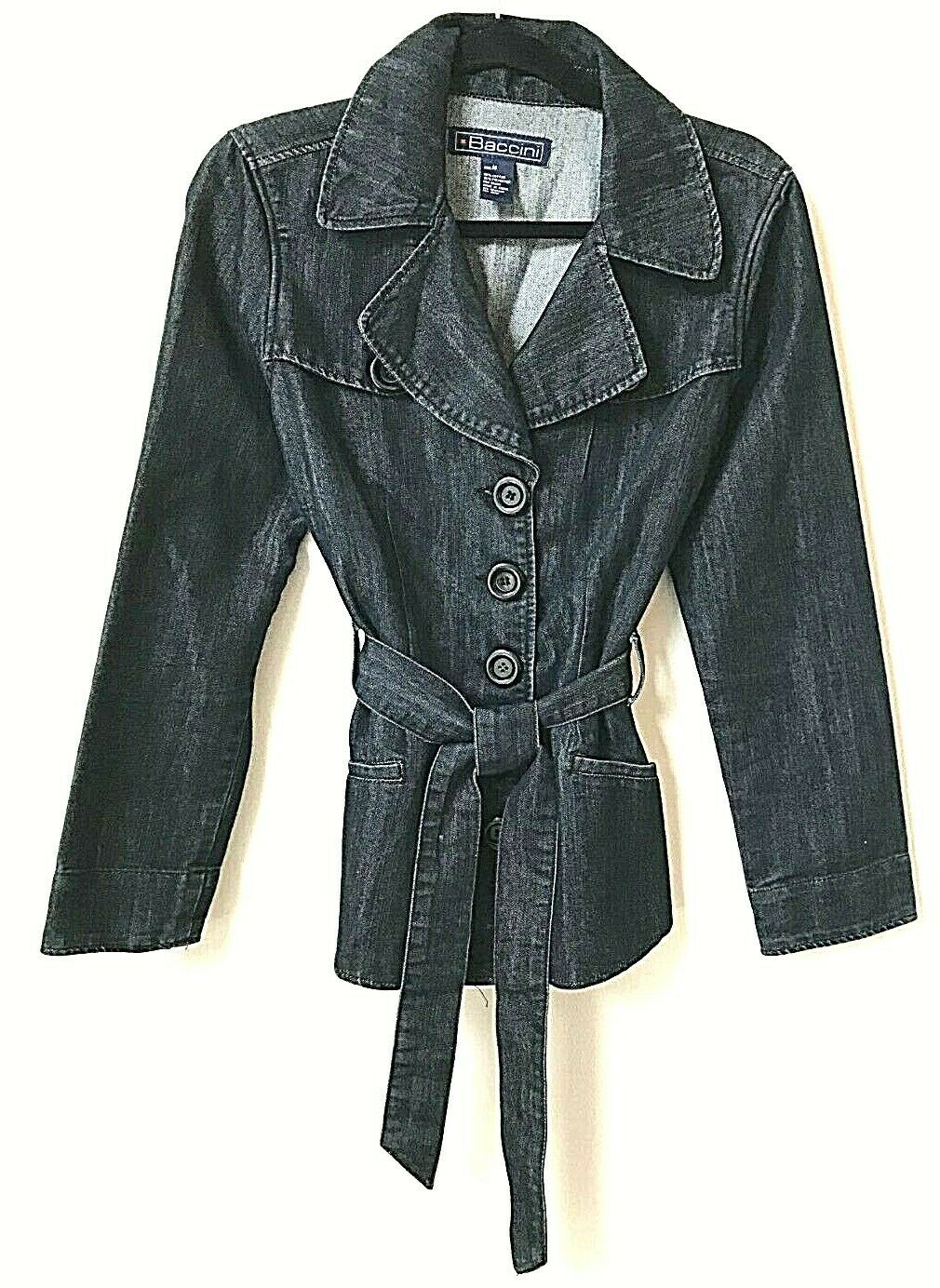 Baccini Dark Blue Denim Button Front Belted Collared Jacket Womens M