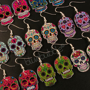 dc2d5789e Image is loading FUNKY-MEXICAN-SUGAR-SKULL-EARRINGS-HALLOWEEN-DAY-OF-