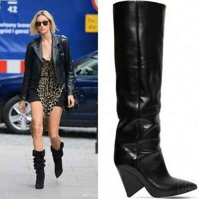 Details about  /Occident Women/'s Runway Slouch Over The Knee High Heel Pointy Toe Boots Winter L