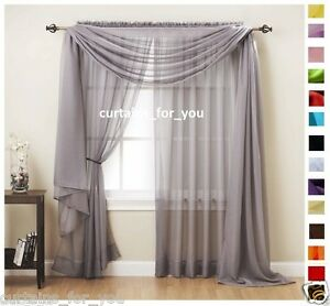 Image Is Loading VOILE CURTAINS SCARF PELMET VALANCE 17 COLOURS AMAZING