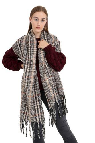 New Ladies Check Scarf  Soft Chunky Plaid Tartan Wrap Neck Stole Xmas gift UK