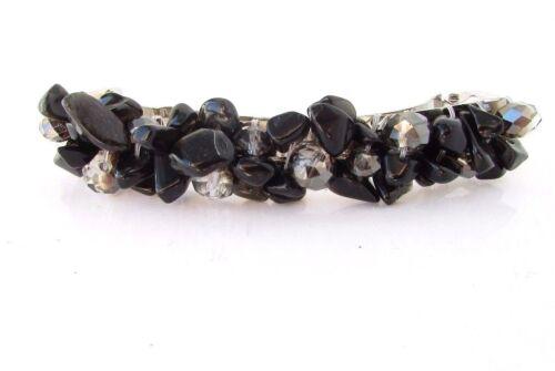 Black Stone Long Barrette Hair Clip Silver Druzy Natural Chip Boho Festival 3981
