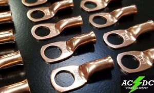 "4 gauge Ring 3//8/"" Hole Terminal BATTERY Lug Bare Copper Un-insulated AWG 5"