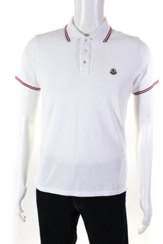 Moncler Mens Short Sleeve Logo Patch Polo Shirt Wh