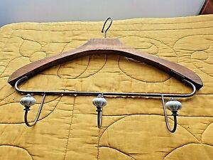 Porte-manteaux vintage/patère murale 3 boules porcelaine-en forme de cintre bois