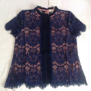 Ladies Nwt Pink Foxiedox Short amp; Sleeve Top Blue New Small Uk10 Lace Cotton qqEFrCZw