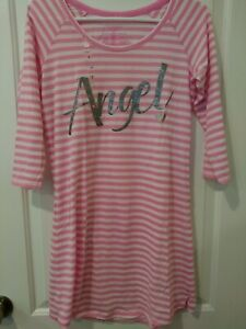 VICTORIA-039-S-SECRET-Pink-White-Angel-Sleepshirt-Nightgown-S