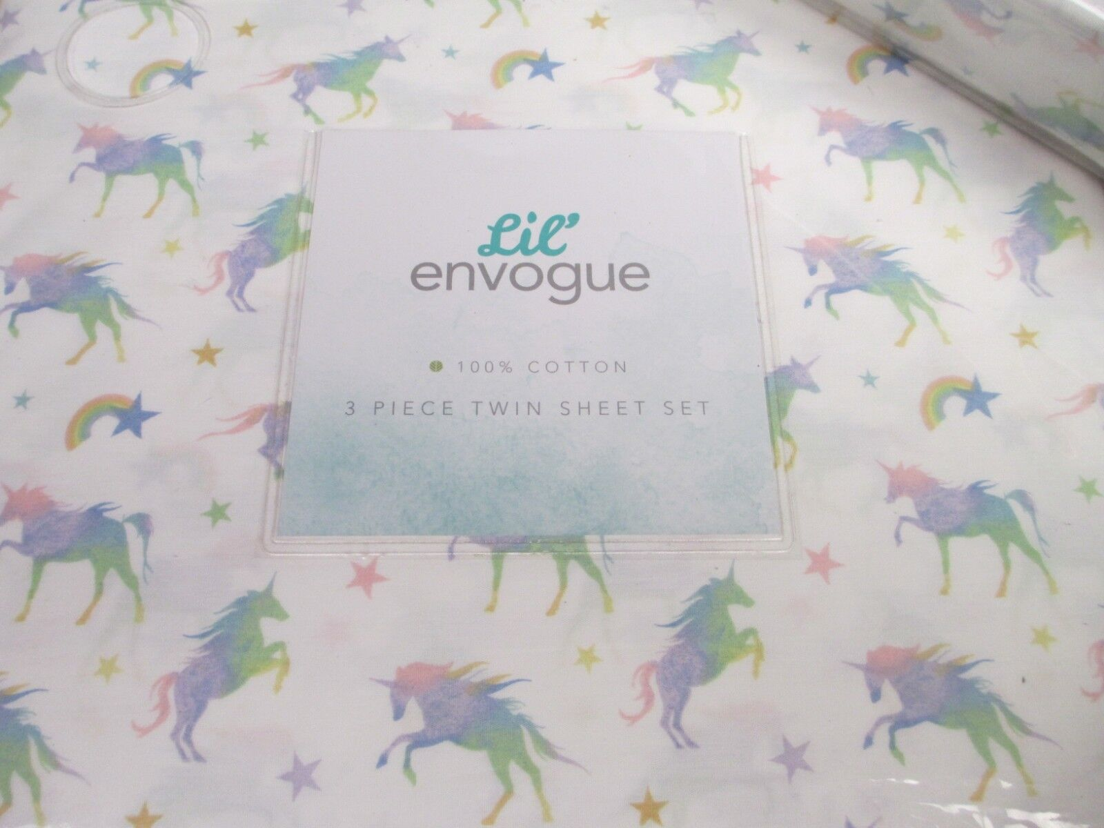 Lil' Envogue Kids Unicorn Rainbow Star White Pink Green Purple Sheet Set - Full