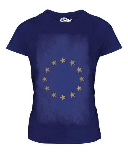 EUROPEAN UNION FADED FLAG LADIES T-SHIRT TEE TOP FOOTBALL GIFT SHIRT CLOTHING