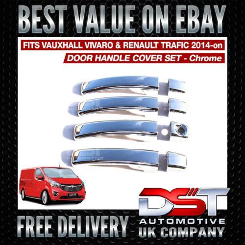 VAUXHALL VIVARO RENAULT TRAFIC 2014/> CHROME 4 DOOR HANDLE SET COVERS OEM QUALITY