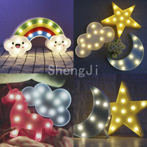 Image Is Loading US Cute Unicorn Star Cloud LED Night Light