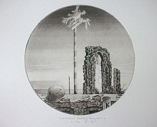 signiert Volker Detlef Original Radierung 1977 HEYDORN Völkerschlacht