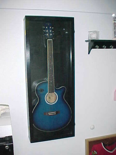 Guitar Display Case Wood Acoustic Electric Guitar Case with Red FELT