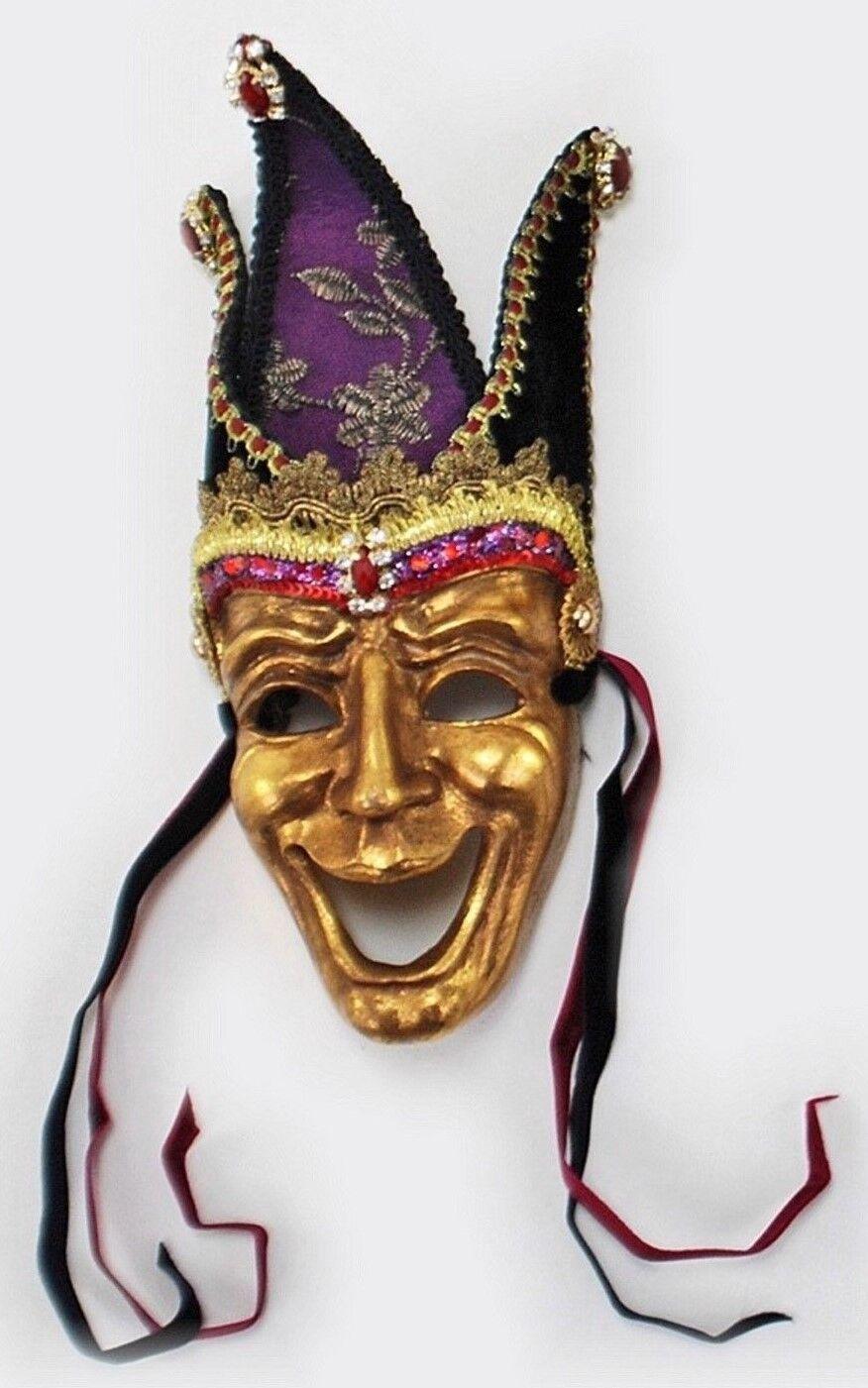 Katherine/'s Collection Venecia máscara Happy /& sad oro 24cm x 13cm Halloween nuevo