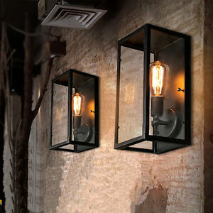 2X Indoor Wall Lamp Kitchen Wall Lights Black Wall Sconce Glass Wall ...