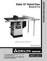 Delta 36-714 10 Hybrid Saw Instruction Manual