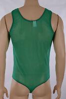 Mens See Through Green Nylon Lycra Mesh Thong Leotard, Acro Gym Gymnastics Swim