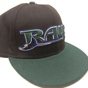 New-Era-Tampa-Bay-Rays-59Fifty-Baseball-Hat-Cap-Fitted-7-3-8-Black-Green-EUC