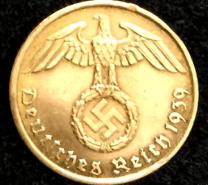 Rare-Old-WW2-German-5-Reichspfennig-High-Grade-Brass-Coin-Authentic-WW2-Artifact