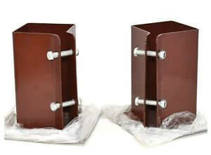BOLT-DOWN-POST-SHOES-TWIN-PACK-75-x-75mm-FENCE-FIXING-BROWN-POWDER-COATED