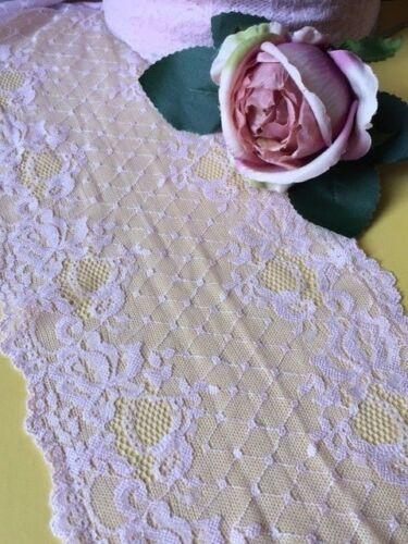 "laverslace Pale//Baby Pink Floral Wide Stretch Tulle Lace Trim 7/""//17.5 cm"