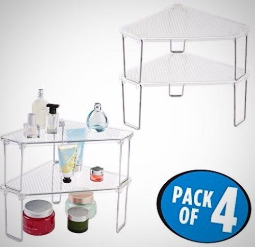 Bathroom Corner Storage Shelf Free Standing Vanity Counter Top Cabinet Clear New