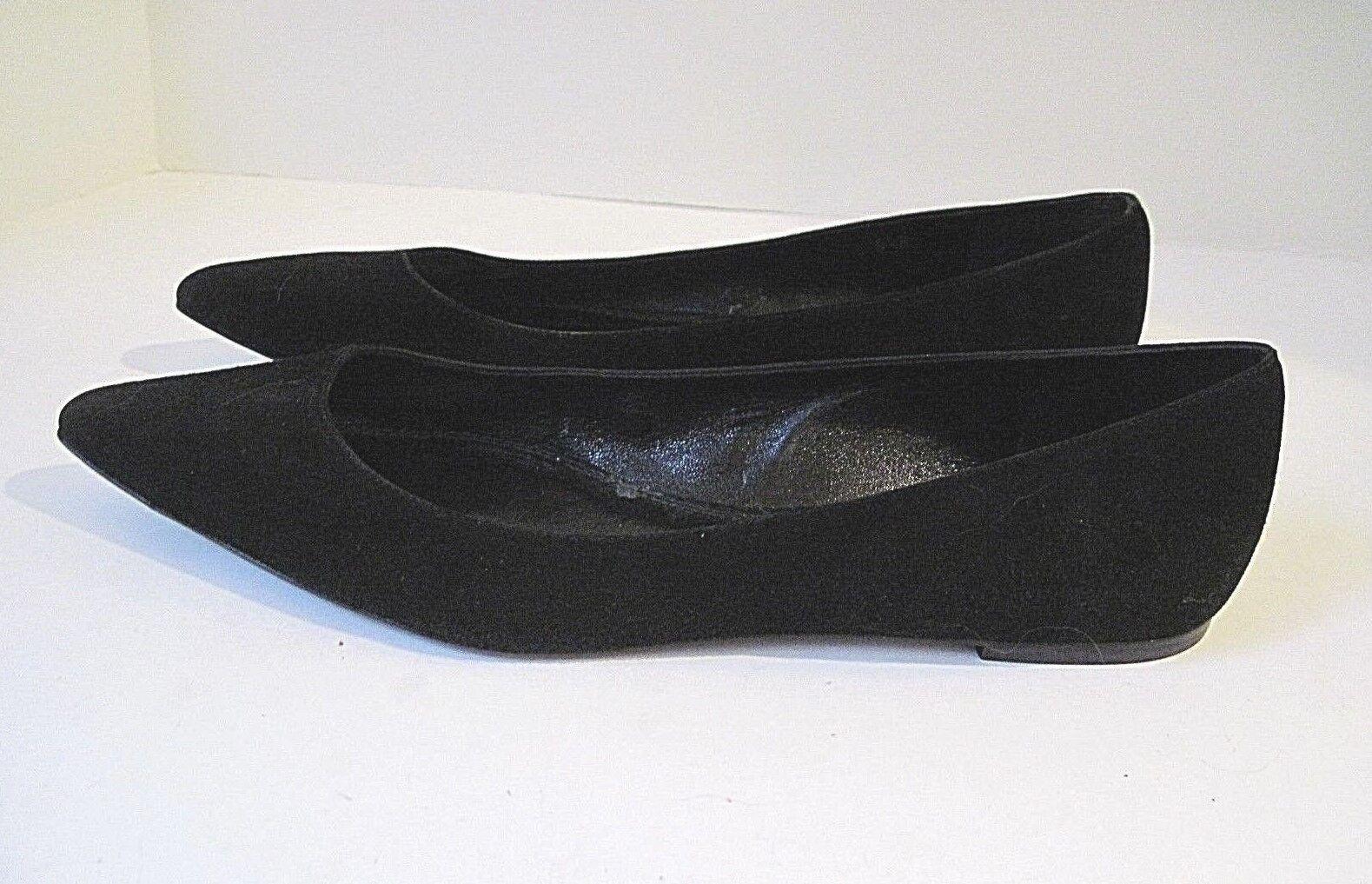 Ralph Lauren Collection Purple Label Black Rianne Suede Flats shoes Size 8 1 2B