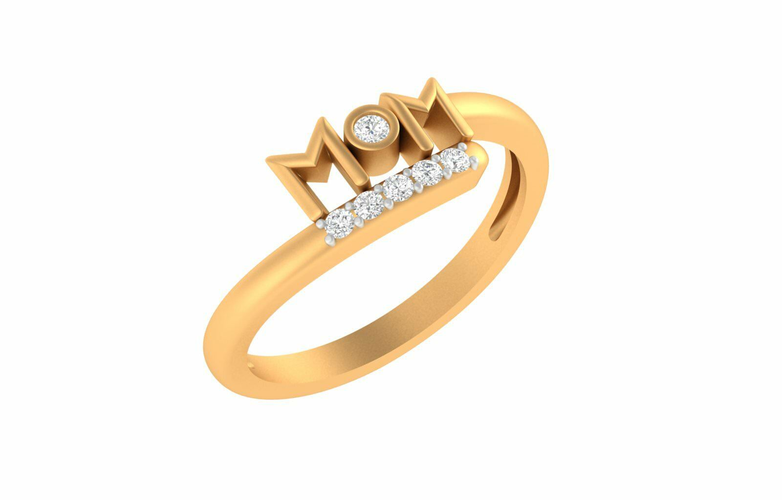 0.12cts SI-IJ Round Cut Diamond 18k Yellow gold Mom Ring Mothers Gift Jewelry