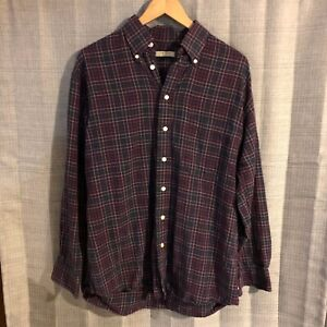Burberry-London-Navy-Blue-Pink-Red-Plaid-Check-Button-Front-Shirt-Size-Medium