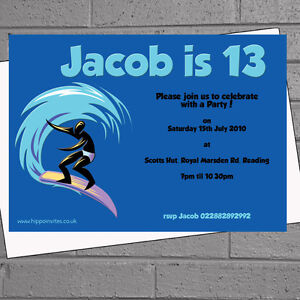 Details About Surfer Surfing Childrens Kids Boys Birthday Party Invitations X 12 Envs H1115