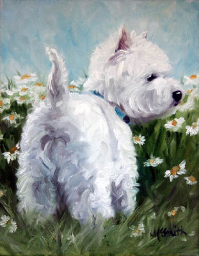 Mary Sparrow Westie West highland terrier dog daisies PRINT