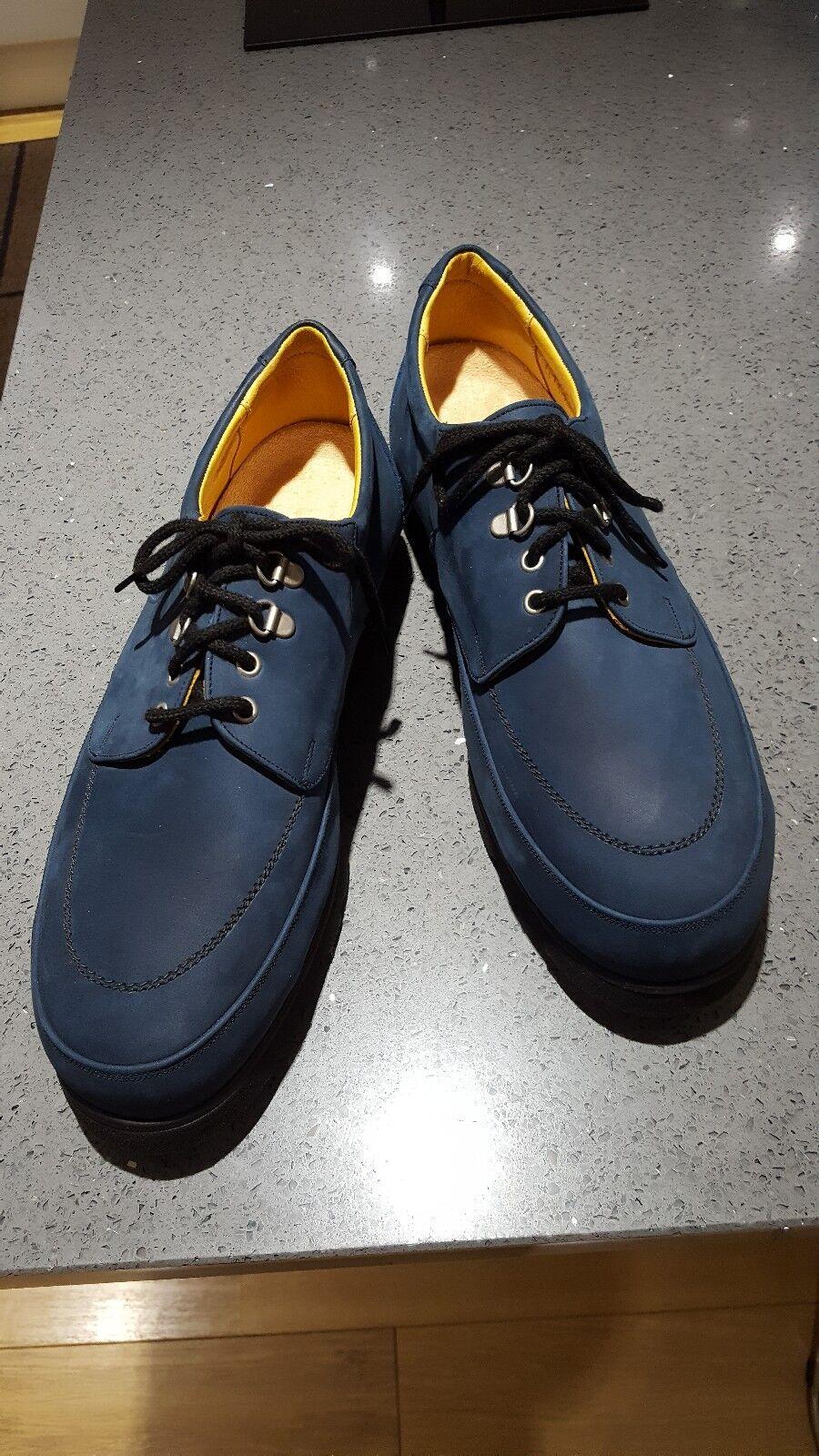 8OR Men UK Size 11 Navy Nubuck Leather Slim Fitting Medical shoes