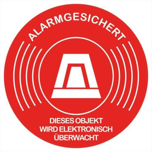 """10 Stück Aufkleber /""""Alarmgesichert-Objekt wird elektronisch überwacht/"""" Rund 5 cm"""