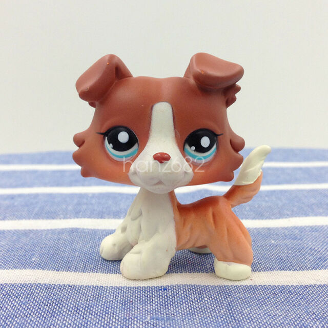 Rare LPS #1542 Littlest Pet Shop Brown Orange Collie Dog Puppy Figure Kids Toys