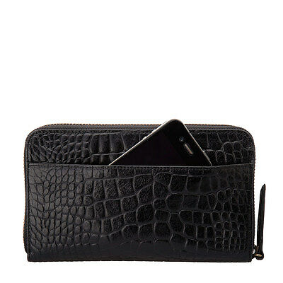 STATUS ANXIETY Delilah Wallet - Black Croc Print Leather Cowhide RRP $109 BNWT
