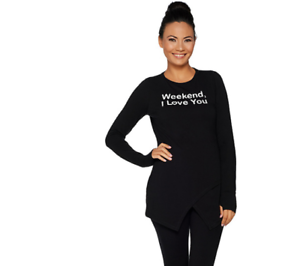 AnyBody-Loungewear-Cozy-Knit-Crossover-Top-Color-Black-Weekend-Size-Small