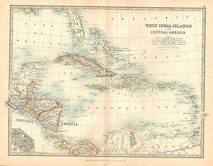 Details about 1911 LARGE VICTORIAN MAP ~ WEST INDIA ISLANDS & CENTRAL on map of north america, map of usa states only, map western usa, united states maps usa, map of usa with states and cities, map of south west usa, map colors, map games usa, world globe showing usa, map cute usa, show map of usa, map all usa, map of united, map driving usa,