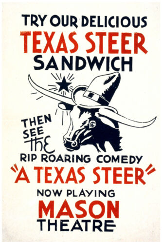 """2634.Mason Theater /'A Texas steer/"""" comedy vintage POSTER Decorative Art."""