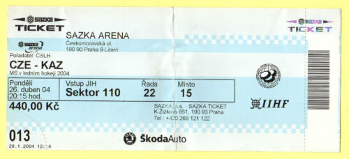 Orig.ticket Icehockey World Champ. CZECH REP 2004 CZECH REP KAZAKHSTAN
