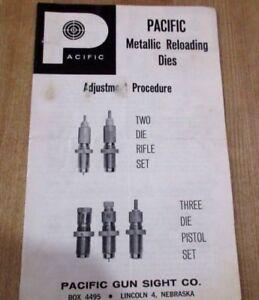Pacific Metallic Reloading Dies Brochure Dépliant Pré Zip # P N 3 61 >-afficher Le Titre D'origine