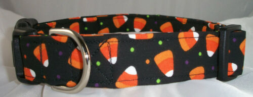 Halloween Candy Corn with Dots dog collar martingale with leash set option
